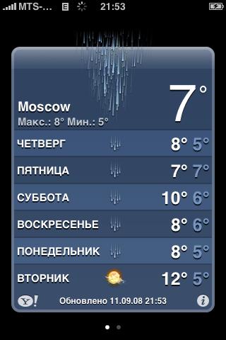 Погодный виджет на iPhone