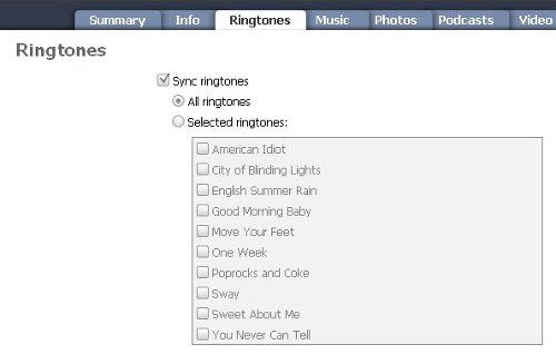 Рингтоны в iTunes