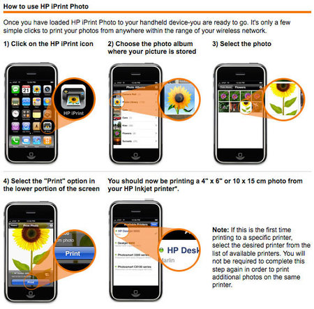 HP iPrint - приложение для печатания фото с iPhone: http://iphone.mforum.ru/pub/2008/52/026175.htm