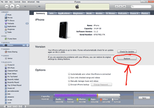 Кнопка Restore в iTunes